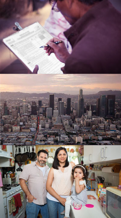Man Filling Out Census Form, L.A. Skyline & L.A. Family